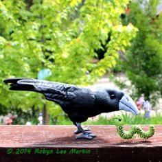 Soft Sculpture Crow and Worm by MotherlodeToad on Etsy