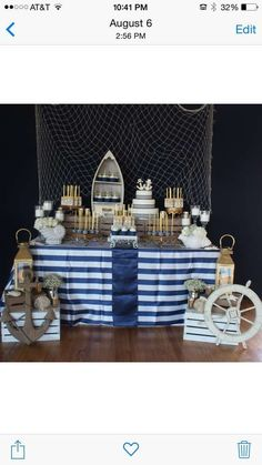 Distinctive Party Designs 's Wedding / Nautical - In High Tide or Low Tide I'll Be By Your Side at Catch My Party Nautical Bridal Showers, Nautical Wedding Theme, Nautical Party, Nautical Cake Pops, Baby Shower Themes, Baby Boy Shower, Baby Shower Decorations, Shower Centerpieces, Sailor Party
