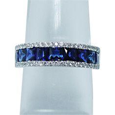 Vintage Princess Ceylon Sapphire Diamond Band Ring 18K White Gold Estate  #Cocktail