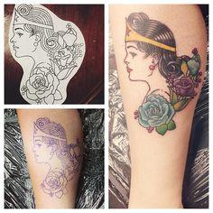 Wonder Woman done by Chris Basile at Dinosaur Tattoo Company in Dothan, AL. (click for Basiles FB)