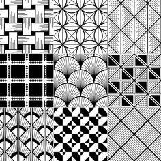 Illustration of seamless gold geometric retro pattern vector art, clipart and stock vectors. Doodle Art Drawing, Zentangle Drawings, Mandala Drawing, Painting & Drawing, Zentangles, Doodle Art Designs, Doodle Patterns, Zentangle Patterns, Pattern Drawing
