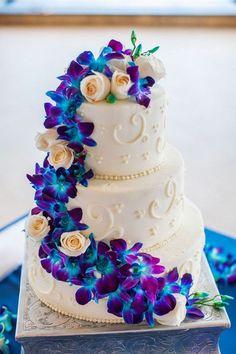 Wedding Cake with Purple and Blue Dendrobium Orchids| Elegant Cobalt Blue Kauai Island Wedding|Photographer: Clane Gessel Photography