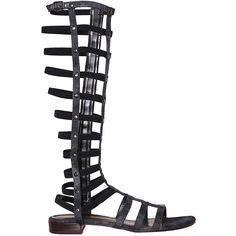 Stuart Weitzman Gladiator sandal (880 BRL) ❤ liked on Polyvore featuring shoes, sandals, nero, summer flats, leather sandals, gladiator sandals shoes, gladiator sandals and greek sandals