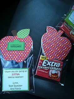 "I made these ""extra"" special teacher appreciation gifts for the boys teachers, principal and the secretary today."