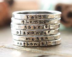 Personalized stacking rings...hand stamped fine von cinnamonsticks