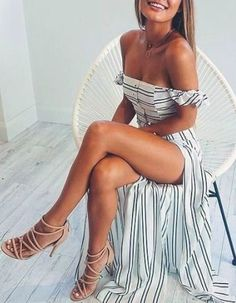 Striped maxi dress.                                                                                                                                                     More
