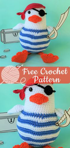Pirate Birdy [CROCHET FREE PATTERNS] I hope you have enjoyed this beautiful crochet, the free pattern is HERE so you can make a beautiful crochet. Bag Crochet, Crochet Birds, Crochet Animals, Crochet Dolls, Crochet Baby, Free Crochet, Doll Patterns Free, Free Pattern, Yarn Projects