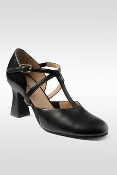 BLACK  PU CUBAN HEEL CHARACTER// STAGE //DANCE SHOES SIZE 1 up to ad 9