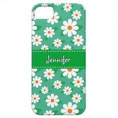 Cute Daisy Flowers with Green Stitched Ribbon | iPhone 5 Cases