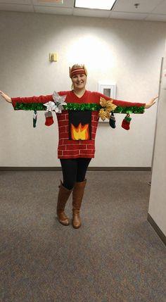 Ugly Christmas Sweater- Fireplace Mantel DIY