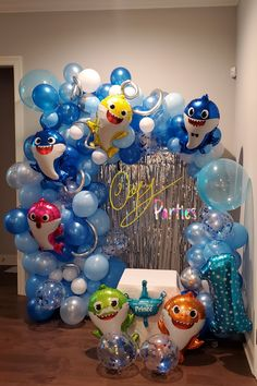 Shark Balloon, Balloon Arch, Balloon Garland, Birthday Party Centerpieces, Birthday Decorations, Baby Boy Birthday Decoration, Boys 1st Birthday Party Ideas, 1st Boy Birthday, Shark Party Decorations