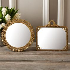 Two's Company Tabletop Mirror On Stand