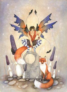 Fairy Art Original Watercolor Painting - 9x12 - Fox Brother - fantasy, animal, woodland, whimsical, boy, illustration. $140.00, via Etsy.