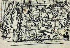 Leon Kossoff 'Drawing for 'Children's Swimming Pool'', 1971 © Leon Kossoff