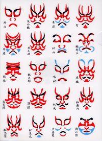 [KABUKI KUMADORI ]  Kumadori is stage makeup worn by kabuki actors, particularly when performing in the bold and bombastic aragoto style.