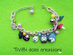 Totoro and Jiji. Bracelet in polymer clay for Studio Ghibli lovers