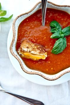 Roasted Tomato Basil Soup. This was delicious. Makes a great lunch