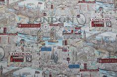 NEW LONDON Bridge UK Map Print 100 cotton by TheFabricShopUK, £12.99