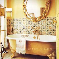 A gorgeous yellow opulent bathroom...fit for a Francesca!
