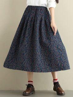 78e24d3456 Faldas de cintura elástica de estampado floral vintage para mujer - NewChic