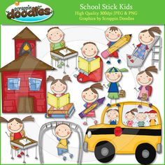 School Stick Kids Clip Art by ScrappinDoodles on Etsy, $3.99