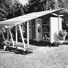 Retro modernist pergola and shed