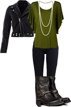 Adding the pearls with a flowy top under the leather jacket brings out the feminine side! Love the olive green with the black!