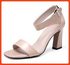 best authentic 16cf9 0d685 RuiHochhackige Sandalen Frauen Schuhe quadratischer Kopf dick mit offenen  Sandalen Frauen Schuhe flachen Mund , apricot