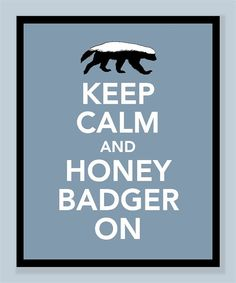 Keep Calm and Honey Badger On Print  by printssocharming on Etsy, $10.00