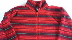 GAP Pro Fleece VTG 90s Red Striped 1/2 Zip Jacket Mens SZ S-L Pullover Holidays #GAP #FleeceTops
