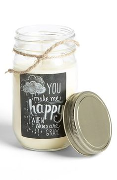 A chalk-art mason jar candle. You make me happy when skies are gray. Available at #Nordstrom