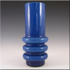Alsterfors 1970's Scandinavian Blue Hooped Glass Vase - £39.99