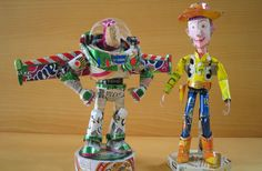 Characters made out of aluminum cans