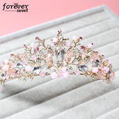 bride hair jewelry Baroque Handmade Beaded luxury pink Crystal Tiara sweet pricess crown wedding hair accessories wholesale #Affiliate