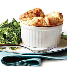Cheese Soufflés with Herb Salad < Vegetarian Egg Recipes - Cooking Light Cheesy Recipes, Egg Recipes, Baking Recipes, Recipies, Dinner Recipes, Cheese Souffle, Gruyere Cheese, Fudge, Easy French Recipes