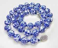 Chinese Blue White Porcelain Bead Hand Knotted Necklace Flowers Birds
