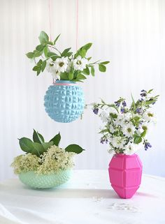 vases made from upcycled lamps.