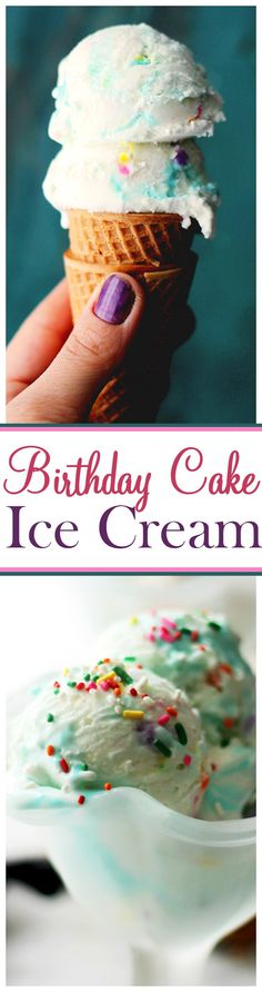 Birthday Cake Ice Cream Recipe - Birthday Cake Ice Cream combines your favorite party treats into one tasty, creamy, super delicious bite! Prepare to have the kid inside of you jump right out. Cold Desserts, Ice Cream Desserts, Frozen Desserts, Frozen Treats, Delicious Desserts, Ice Cream Birthday Cake, Birthday Cake With Photo, Ice Cream Party, Easy Homemade Ice Cream