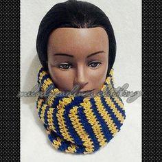 Women's Royal Blue/Gold Striped Infinity Scarf www.melodycadenzaclothing.com #Crochet #Handmade #Beanie