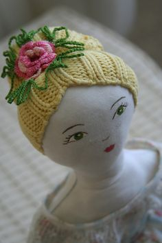 Emma Doll--love the hair! jane austen inspired plushie dolls ...love the pretty knitted hair and crochet flower