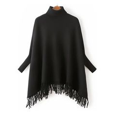 Black Turtle Neck Batwing Sleeve Fringe Cape Sweater (455 ZAR) ❤ liked on Polyvore featuring tops, sweaters, polo neck top, polo neck sweater, turtleneck tops, turtleneck sweater and batwing sleeve tops
