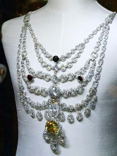 The Patiala necklace was created by Cartier for Maharaja Bhupinder Singh of Patiala in 1928. Made of platinum and studded with over 2,000 diamonds - including the world's seventh largest DeBeers diamond - is probably one of the most expensive pieces of jewellery ever made.