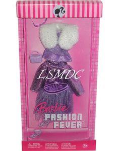 Fashion Fever Barbie doll clothes Faux fur purple top Skirts Heels K8477 NRFB #Mattel #Barbiedollsizedfashion