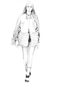 Fashion illustration - chic outfit sketch; black and white fashion drawing // T.S. Abe