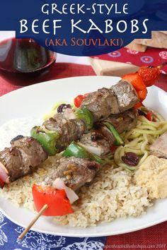 Greek-Style Beef Kabobs (aka Souvlaki) recipe for #SundaySupper | cupcakesandkalechips.com