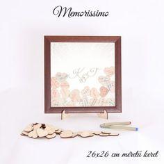 Esküvői alternatív vendégkönyv 26x26 cm (Monogramos mintával) - Memorissimo
