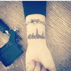 New york city skyline tattoo ✌ travel tattoos, small travel tattoo, chicago skyline New York Tattoo, Nyc Tattoo, City Tattoo, Nyc Skyline Tattoo, 5sos Tattoo, Tattoo Blog, Cute Tiny Tattoos, Little Tattoos, Beautiful Tattoos