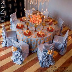Orange & blue Wedding Linens, Wedding Chairs, Wedding Tables, Wedding Tablecloths, Wedding Mandap, Wedding Reception, Wedding Dresses, Wedding Table Decorations, Table Centerpieces