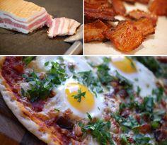 English Breakfast Pizza - pizza med æg og bacon