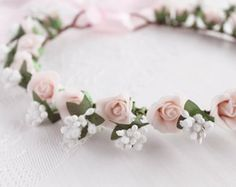 Ivory Bridal Crown Rustic Wedding Halo Woodland от NoviaBellaTS